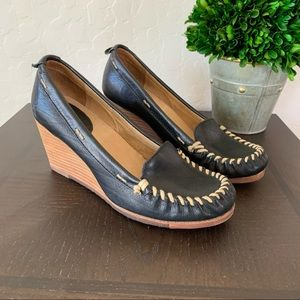 Frye Black Wedge Leather Alex Sandals 6.5